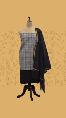 Grey & Black Cotton Dress Material-yespoho