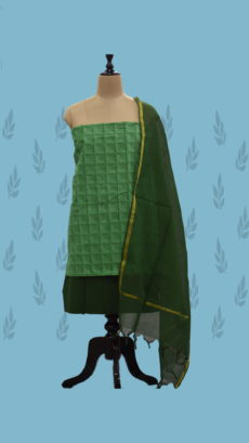 Dark Green Cotton Dress Material-yespoho