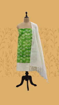 Light Green & White Cotton Dress Material-yespoho