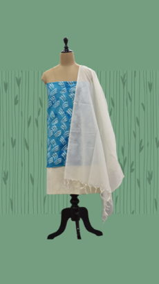 Sky Blue & White Cotton Dress Material-yespoho