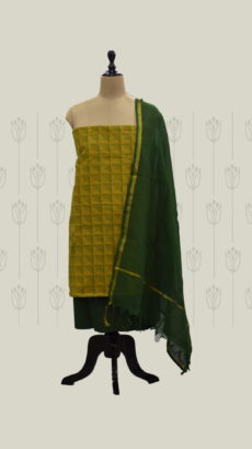 Yellow & Dark Green Cotton Dress Material-yespoho