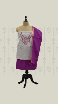 Light Grey & Purple Cotton Dress Material-yespoho