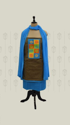 Rustic Brown & Ananda Blue Cotton Dress Material-yespoho