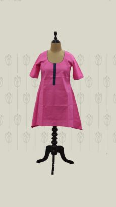 Taffy Pink Long Cotton Kurti-yespoho