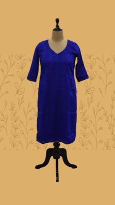 Dark Blue Cotton Straight Long Kurti-yespoho
