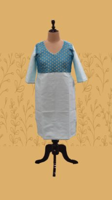 Deep Sky Blue & Baby Sky Blue Long Cotton Kurti-yespoho