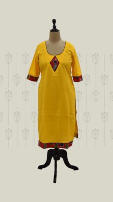 Yellow Printed Long Cotton Kurti-yespoho