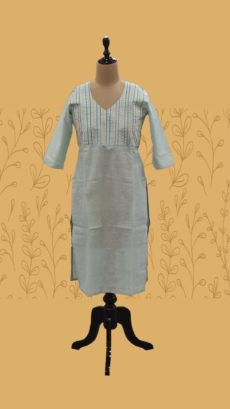 Tea Green Long Cotton Kurti-yespoho