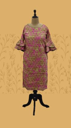Brown & Pink Printed Cotton Long Kurti-yespoho