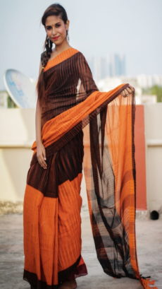 Orange & Black Designer Royal Ikat Saree-yespoho