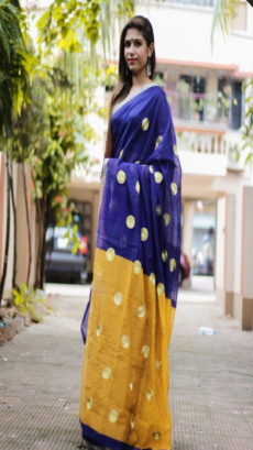 Blue & Yellow Designer Handloom Saree-yespoho