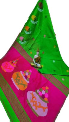 Parrot Green & Pink Sweet Pot Jamdani Silk Cotton Saree-yespoho