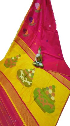Pink & Lemon Yellow Sweet Pot Jamdani Saree-yespoho