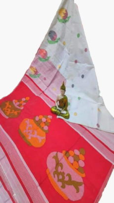 White & Light Red Sweet Pot Jamdani Saree-yespoho