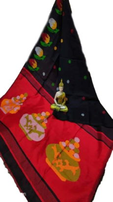 Black & Dark Red Sweet Pot Jamdani Saree-yespoho