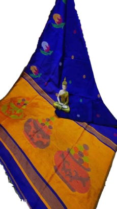 Royal Blue & Mustard Yellow Sweet Pot Jamdani Saree-yespoho