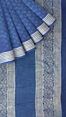 Indigo Blue & White Soft Cotton Saree With Floral Design-yespoho