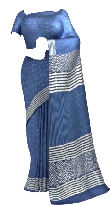 Indigo Blue & White Soft Cotton Saree With Floral Design Cotton Sarees Diwali Sale Yespoho Sarees Handpicked Collections New Arrivals