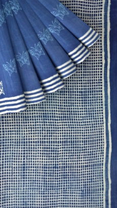 Indigo Blue & White Soft Cotton Saree With Butterfly Design-yespoho