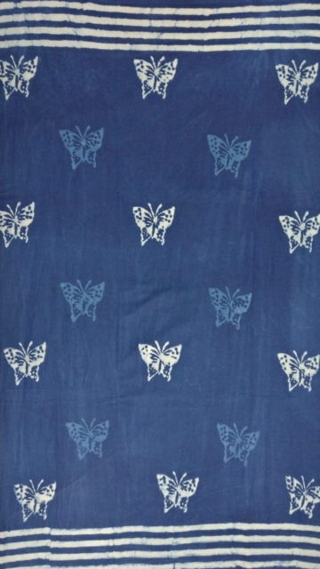 Yespoho Indigo Blue & White Soft Cotton Saree With Butterfly Design