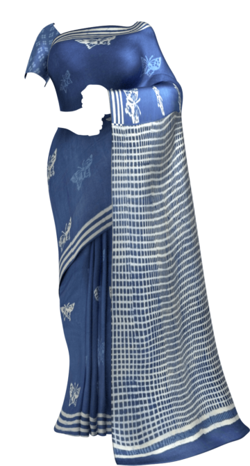 Indigo Blue & White Soft Cotton Saree With Butterfly Design Cotton Sarees Diwali Sale Yespoho Sarees Handpicked Collections New Arrivals