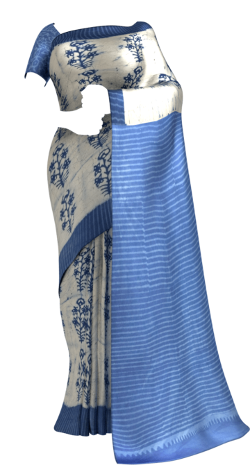 Indigo Blue & Off- White Soft Cotton Saree With Floral Design Cotton Sarees Winter Sale Yespoho Sarees Handpicked Collections New Arrivals