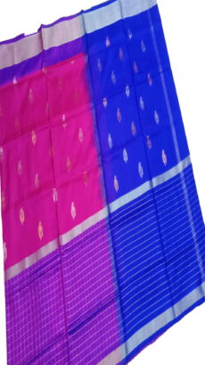 Royal Blue & Pink Uppada Silk Saree With Checked Border-yespoho