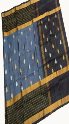 Black & Dark Grey Uppada Silk Saree With Checked Border-yespoho