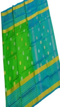 Teal Blue & Light Green Uppada Silk Saree With Checked Border-yespoho