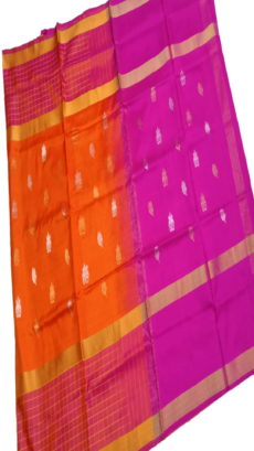 Bright Orange & Dark Pink Uppada Silk Saree With Checked Border-yespoho