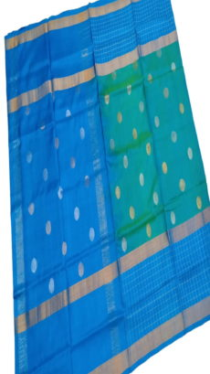Teal Blue & Sky Blue Uppada Silk Saree With Checked Border-yespoho
