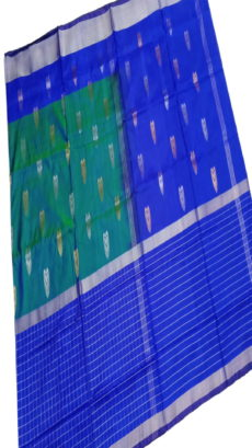 Royal Blue & Sea Green Uppada Silk Saree With Checked Border-yespoho