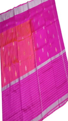Dark Pink & Light Pink Uppada Silk Saree With Checked Border-yespoho