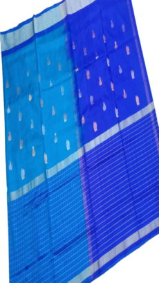 Royal Blue & Sky Blue Uppada Silk Saree With Checked Border-yespoho