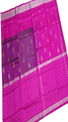 Dark Pink  & Purple Uppada Silk Saree With Checked Border-yespoho