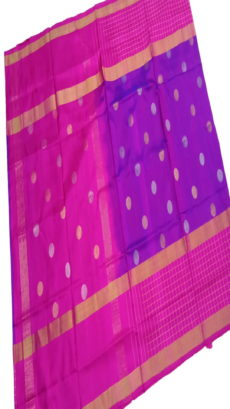 Lavender & Pink Uppada Silk Saree With Checked Border-yespoho
