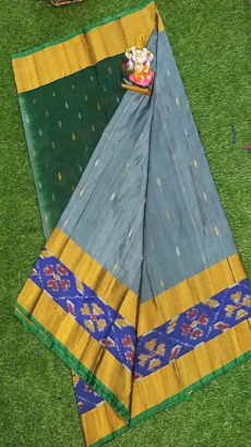 Bottle Green & Dark Grey Uppada Silk Saree With Ikat Border-yespoho