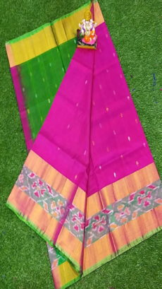 Light Green & Pink Uppada Silk Saree With Ikat Border-yespoho