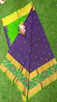 Light Green & Dark Blue Uppada Silk Saree With Ikat Border-yespoho