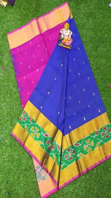 Pink & Royal Blue Uppada Silk Saree With Ikat Border-yespoho