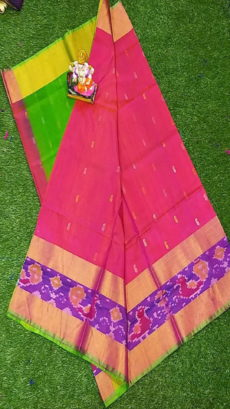 Light Green & Light Pink Uppada Silk Saree With Ikat Border-yespoho