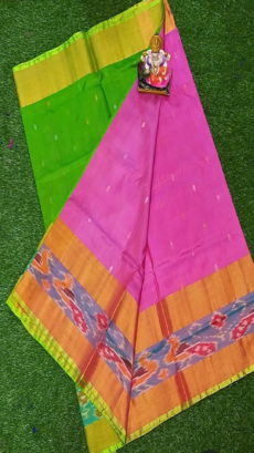 Light Green & Baby Pink Uppada Silk Saree With Ikat Border-yespoho