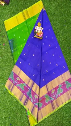 Light Green & Royal Blue Uppada Silk Saree With Ikat Border-yespoho