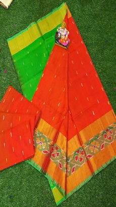 Light Green & Bright Orange Uppada Silk Saree With Ikat Border-yespoho