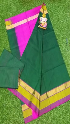 Light Pink & Dark Green Uppada Silk Saree With Triveni Border-yespoho