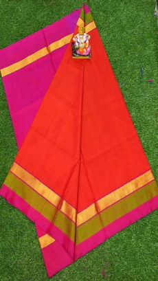 Light Pink & Bright Red Uppada Silk Saree With Triveni Border-yespoho