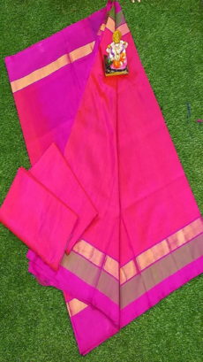 Light Pink & Baby Pink Uppada Silk Saree With Triveni Border-yespoho