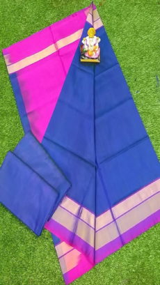 Light Pink & Royal Blue Uppada Silk Saree With Triveni Border-yespoho