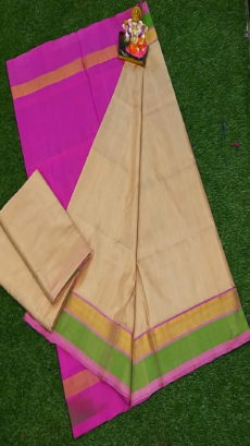 Light Pink & Cream Uppada Silk Saree With Triveni Border-yespoho