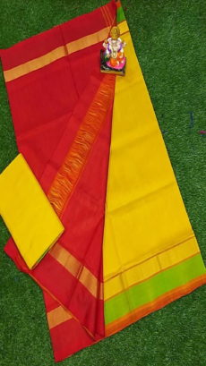 Dark Red & Bright Yellow Uppada Silk Saree With Triveni Border-yespoho